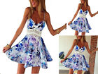 Sexy Women Floral Flower Print  Summer Ladies Dress Short Sleeveless Sundress