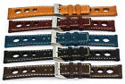 Genuine Leather Rally Racing Holes Watch Strap band 20mm 22mm 24mm black blue