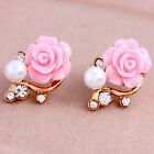 Korean Style Girls Pink Purple Rose Flower Pearl Shiny Crystal Rhinestone Studs
