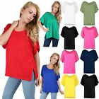 Women Ladies Batwing Short Sleeve Side Slit Neck Oversize Baggy Long Top T Shirt