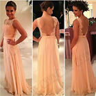 FORMAL LONG LACE SEXY LADY PROM EVENING PARTY BRIDESMAID WEDDING MAXI DRESS PINK