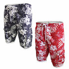 Mens Swim Shorts Brave Soul District Hawaiian Print 3/4 Length Elasticated Pants
