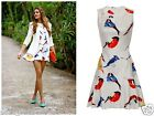 BIRD PRINTED ROBIN SWING SKATER PARTY SUMMER EVENING DAY DRESS S/M M/L 3COLOURS