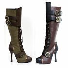 Green Brown Western Calvary Steampunk Costume Knee High Riding Boots 6 7 8 9 10