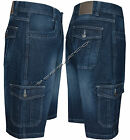 "Mens Casual Denim Regular Fit Combats Cargo Shorts 3/4 Knee Length Pants 30""-48"""