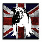 Union Jack Bulldog Canvas Abstract Iconic Art Print Box Framed Picture TE