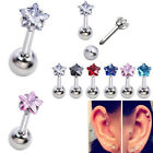 16G CZ Gem Star Steel Barbell Ear Tragus Cartilage Helix Studs Earring Piercing