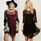 Wedding Floral Women's Bridesmaid Cocktail Prom Ball Holiday Lace Party Dress