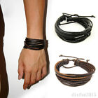 Fashion Women Men Wrap Wristband Multilayer Leather Cuff Bracelet New