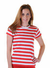 Women's Ladies Fancy Dress Striped T Shirt Short Sleeve Top Sizes 8 -14 R/W