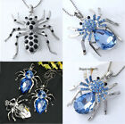 Silver Plated Crystal Rhinestone Spider Bead Pendant for Necklace Fascinating