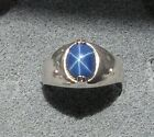 MEN'S 10x8mm 3+ CT LINDE LINDY CRNFLWR BLUE STAR SAPPHIRE CREATED SECOND RING SS