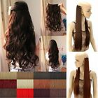 Real Silky Straight Curly Clip In Hair Extensions 3/4 Full Head 5 Clips