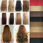 "UK half Full Head Wide 12"" Weft Clip in on Hair Extensions One piece Jet Black"