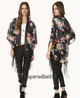 Fashion Vintage Ethnic Floral Baggy Kimono Batwing Cardigan Tassels Blouses Tops