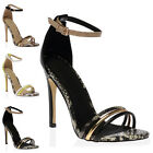WOMENS BUCKLE ANKLE STRAPPY LADIES OPEN TOE CUT OUT STILETTO HEEL SHOES SIZE 3-8
