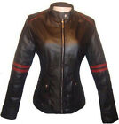 Women Biker Motorcycle Black & Red Leather Jacket Sz XS-3XL Colombian Couture