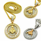 """MENS HIP HOP ICED OUT MASONIC ROUND MEDALLION PENDANT 24"""" BOX CHAIN NECKLACE"""