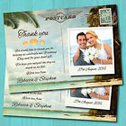 Personalised Tropical Beach Wedding Thank You Postcards & Envelopes