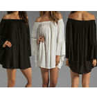 Boho Womens Ruffle Sleeve Off Shoulder Top T Shirt Blouse Tunic Dress 8-24/S-3XL