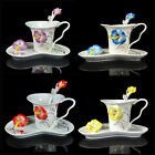 4 Colors Stunning Porcelain Hibiscus Flower Coffee Set 1Cup 1Sacuer 1Spoon