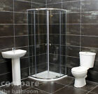 800mm Quadrant Shower Cubicle Bathroom Suite Basin + Toilet + Tray Options