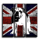 Union Jack Bulldog Canvas Abstract Iconic Art Print Treble Box Framed Picture