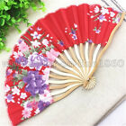 Chinese Bamboo Folding Silk HAND FAN with Floral Flowers Wedding Party Gift