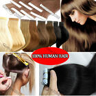 """24"""" Women's PU Seamless Skin Tape in Weft Remy Human Hair Extension Straight 70g"""