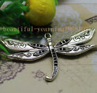 2/6pcs Antique silver sweet delicate big dragonfly pendant