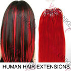 """New 100s 16""""-22""""Micro Ring Beads Loop Tip Remy Human Hair Extension Straight Red"""