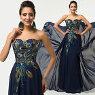 Long Short VINTAGE Peacock Formal Evening Ball Gown Party Prom Bridesmaid Dress