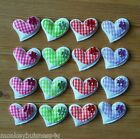 10 Padded Gingham Heart  w/Flower - Applique - Topper - Wedding - Favour - Cards