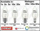 EVEREADY CANDLE LIGHT BULBS OPAL / CLEAR LAMPS 25W, 40W, 60W - SES, SBC, ES, BC.