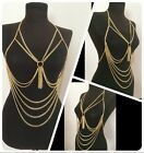 Womens Harness Tassel Cross Layered Bikini Punk Necklace Belly Waist Body Chains