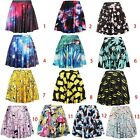 Women Fashion Stretch High Waist A-Line Full Pleated Short Skirt #2 DQ