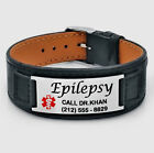 PERSONALIZED STAINLESS STEEL BLACK LEATHER MEDICAL ALERT ID BRACELET ENGRAVED