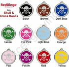Red Dingo SKULL & CROSSBONES Engraved Dog ID Pet Tag/Charm - Lifetime Guarantee