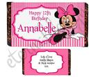 Personalised Kids Chocolate Bar Wrapper Favours Sweets Gifts (Minnie Mouse 2)