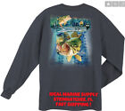 Guy Harvey by Aftco Nitro Bass Fishing Boat L S T-Shirt Charcoal Heather.. S-2X