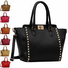 Womens Handbags Ladies Designer Bags Studded Shoulder Tote Bag Faux Leather