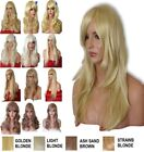 Blonde Golden Wig Natural Long Curly Straight Wavy Synthetic Wig Women Party UK
