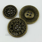 12PCS Metal Round Pierced Suit Flower Carving Buttons Four Hole 13 15 18 20 25mm