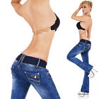 Sexy Women's Hipster Bootcut Jeans Dark Wash Jeans Pants Inc Belt Size 6-14