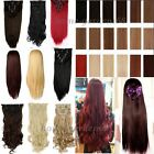 Deluxe Thick 8 Piece Full Head Long Straight Curly/Wavy Clip In Hair Extensions