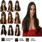 Brown Chocolate Wig Natural Long Curly Straight Wavy Women Fashion Ladies Wig