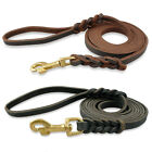 Genuine Leather Dog Pet Training Leashes Lead Solid Brass Hook 120/170/220/265CM