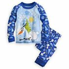New w Tags Girl's Frozen Olaf Pajamas Disney Store Blue Winter Long Sleeve/Pants