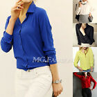 Fashion Long Sleeve Women Loose Casual Chiffon Shirt Tops Shirt Blouse Elegant