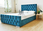 Florida Chenille Fabric Diamond Teal Bed Crystals 3FT 4FT6 5FT Double King Size